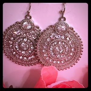 Silver sterling crystal stones short earrings